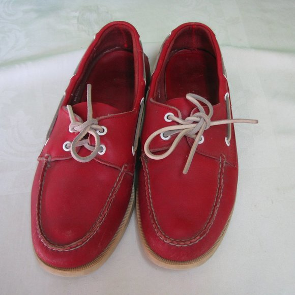 Austin Reed Shoes Vintage Austin Reed Red Leather Boat Shoes Poshmark